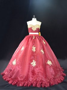 Fashion Red and Burgundy Ball Gowns Appliques Sweet 16 Dress Zipper Organza Sleeveless