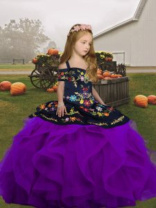 Luxurious Sleeveless Lace Up Floor Length Embroidery and Ruffles Little Girls Pageant Gowns