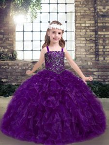 Lovely Eggplant Purple Lace Up Straps Beading and Ruffles Pageant Dress for Teens Organza Sleeveless