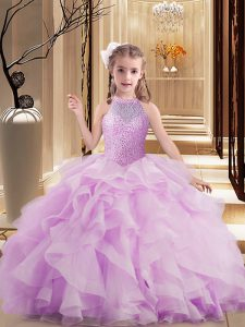 Lilac Sleeveless Tulle Lace Up Little Girls Pageant Dress Wholesale for Party and Sweet 16 and Wedding Party