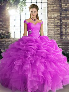 Floor Length Lilac Vestidos de Quinceanera Off The Shoulder Sleeveless Lace Up