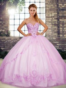 Deluxe Lilac Tulle Lace Up Sweetheart Sleeveless Floor Length Quinceanera Dresses Beading and Embroidery