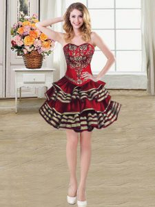 High End Burgundy Sleeveless Taffeta Lace Up for Prom and Party