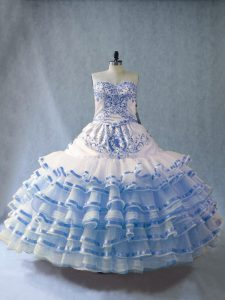Blue And White Lace Up Quinceanera Gown Embroidery and Ruffled Layers Sleeveless Floor Length