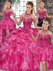 Exquisite Fuchsia Halter Top Lace Up Beading and Ruffles Quinceanera Dress Sleeveless