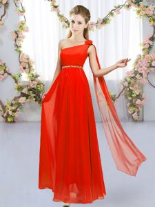 New Style Sleeveless Floor Length Beading and Hand Made Flower Lace Up Quinceanera Court Dresses with Red