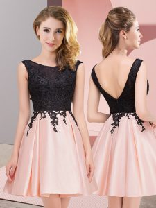 Pink Scoop Zipper Lace Damas Dress Sleeveless