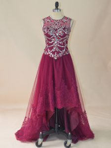 High Low Lace Up Prom Gown Burgundy for Prom and Party with Beading and Lace