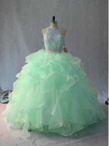 Apple Green and Pink And White Sleeveless Beading and Ruffles Floor Length 15th Birthday Dress