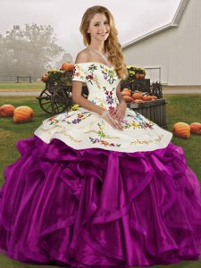 Edgy White And Purple Off The Shoulder Lace Up Embroidery and Ruffles Vestidos de Quinceanera Sleeveless