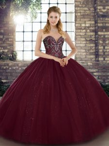 Burgundy Sleeveless Floor Length Beading Lace Up Quinceanera Gowns