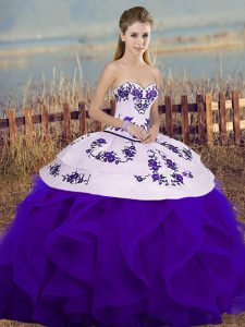 Admirable White And Purple Ball Gowns Embroidery and Ruffles and Bowknot Quinceanera Gown Lace Up Tulle Sleeveless Floor Length