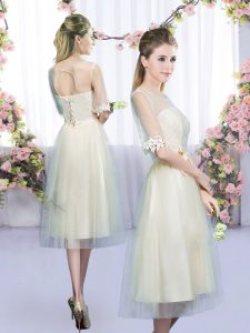 Affordable Half Sleeves Lace and Bowknot Lace Up Dama Dress for Quinceanera