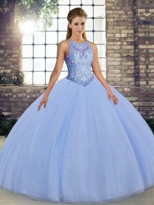Tulle Sleeveless Floor Length Sweet 16 Dress and Embroidery