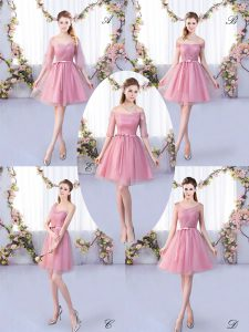 Shining Pink Half Sleeves Tulle Lace Up Quinceanera Court of Honor Dress for Wedding Party