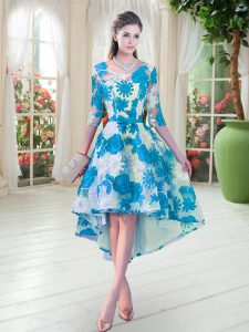 Enchanting Blue And White Lace Up Prom Evening Gown Belt Half Sleeves High Low