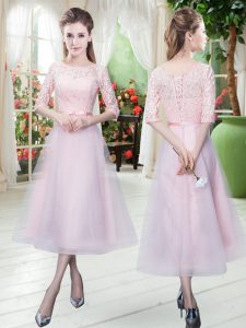 Scoop Half Sleeves Prom Evening Gown Ankle Length Belt Baby Pink