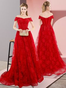 Adorable Red Prom Gown Off The Shoulder Sleeveless Sweep Train Lace Up
