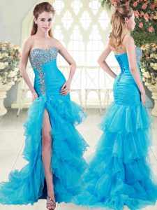 Shining Sweetheart Sleeveless Brush Train Beading and Ruffled Layers Aqua Blue Organza