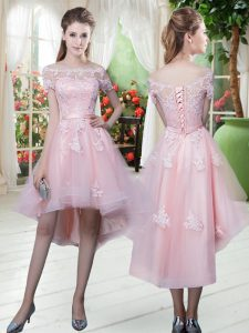 Dazzling Half Sleeves High Low Lace and Appliques Lace Up Prom Dresses with Baby Pink