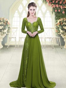 Olive Green Sweetheart Neckline Beading Prom Party Dress Long Sleeves Backless
