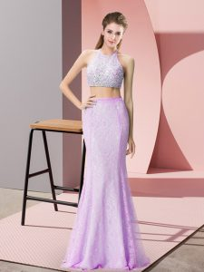 Fantastic Halter Top Sleeveless Womens Evening Dresses Floor Length Beading and Lace Lilac Lace