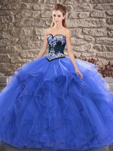 Deluxe Floor Length Ball Gowns Sleeveless Blue Quince Ball Gowns Lace Up