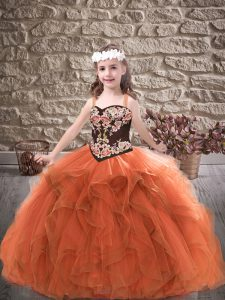 Rust Red Ball Gowns Embroidery and Ruffles Little Girls Pageant Gowns Lace Up Tulle Sleeveless Floor Length