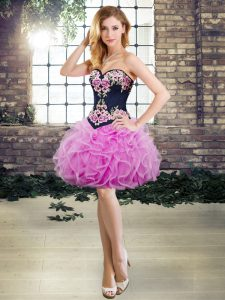 Flare Lilac Tulle Lace Up Prom Gown Sleeveless Mini Length Embroidery and Ruffles