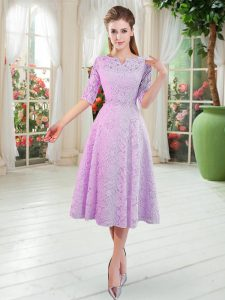 Perfect Lilac A-line Beading Prom Gown Zipper Lace Half Sleeves Tea Length
