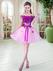 Lilac Sleeveless Tulle Lace Up Prom Evening Gown for Prom and Party