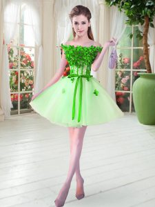Apple Green A-line Off The Shoulder Sleeveless Tulle Mini Length Lace Up Beading and Appliques