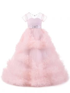 Baby Pink Ball Gowns Beading and Ruffles Little Girls Pageant Dress Backless Tulle Short Sleeves Floor Length
