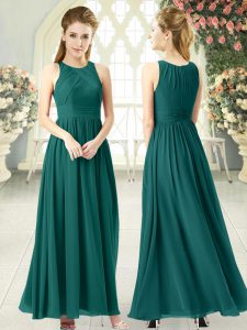Green Sleeveless Ankle Length Ruching Zipper Prom Party Dress