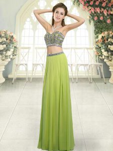 Olive Green Sleeveless Chiffon Backless Prom Dress for Prom and Party