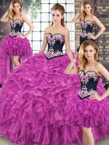 Embroidery and Ruffles Quinceanera Dresses Fuchsia Lace Up Sleeveless Sweep Train