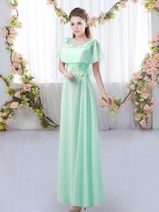 Affordable Apple Green Short Sleeves Chiffon Zipper Court Dresses for Sweet 16 for Prom and Party and Wedding Party