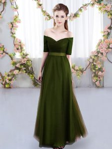 Simple Olive Green Short Sleeves Floor Length Ruching Lace Up Dama Dress for Quinceanera