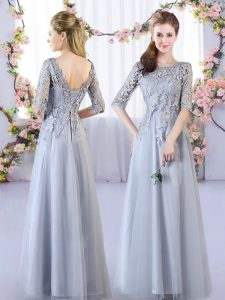 Grey Half Sleeves Floor Length Lace Lace Up Quinceanera Dama Dress