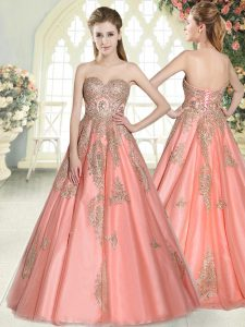 Graceful A-line Prom Evening Gown Watermelon Red Sweetheart Tulle Sleeveless Floor Length Lace Up