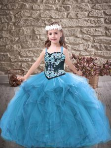 Sleeveless Lace Up Floor Length Embroidery and Ruffles Child Pageant Dress