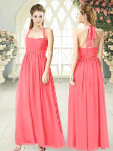 Sleeveless Chiffon Floor Length Zipper Formal Evening Gowns in Watermelon Red with Ruching
