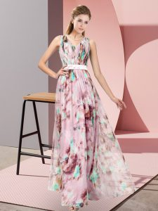 Suitable Floor Length Zipper Prom Gown Multi-color for Prom and Party with Pattern