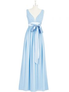 Pretty Baby Blue Backless V-neck Ruching and Bowknot Evening Dresses Chiffon Sleeveless