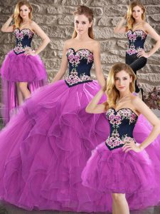 Purple Ball Gowns Sweetheart Sleeveless Tulle Floor Length Lace Up Beading and Embroidery Sweet 16 Quinceanera Dress
