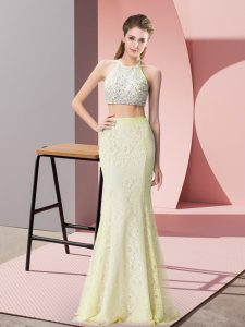 Two Pieces Prom Gown Light Yellow Halter Top Lace Sleeveless Floor Length Backless