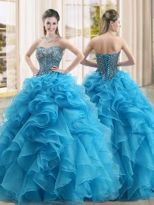 Floor Length Baby Blue 15 Quinceanera Dress Sweetheart Sleeveless Lace Up