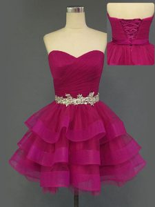 Colorful Tulle Sleeveless Mini Length Homecoming Dress and Beading and Ruffled Layers and Ruching