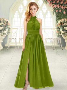 Low Price Olive Green Sleeveless Ruching Ankle Length