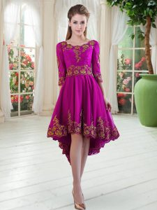 Tulle Long Sleeves High Low Homecoming Dress and Embroidery